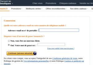 Formulaire de connexion Amazon.fr - 10 euros offert