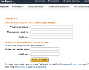 Enregistrement Amazon