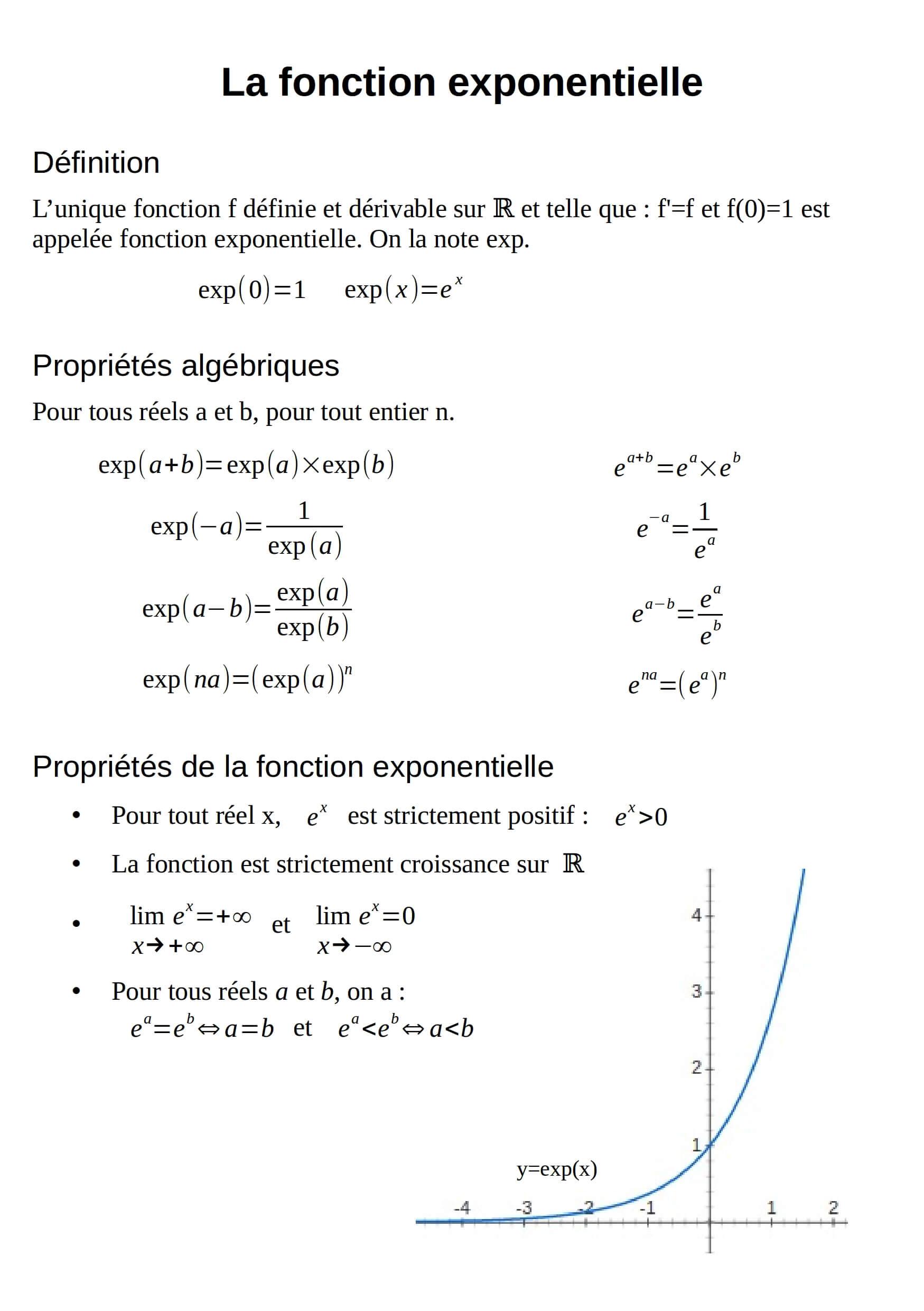 la fonction exponentielle - fiche