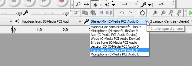 Audio source - Audacity