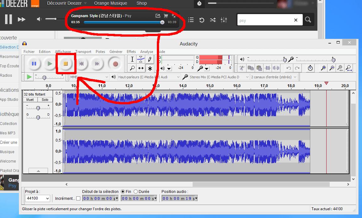 Stopper enregistrement - Audacity