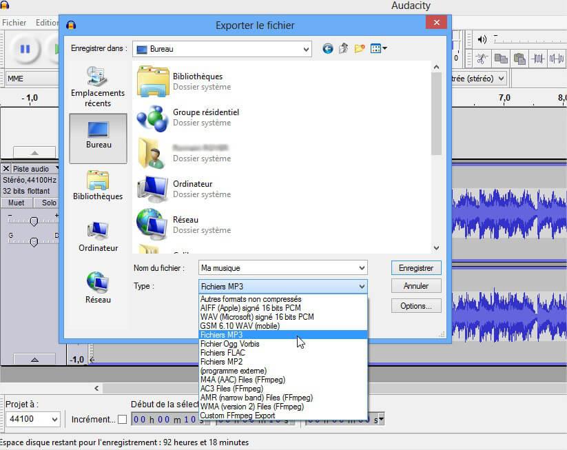 Enregistrer MP3 - Audacity