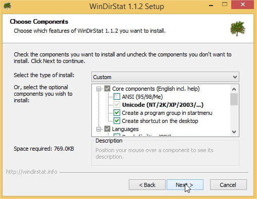 WinDirStat - Choosing the components