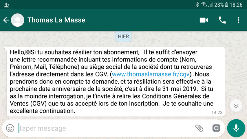 message thomas la masse