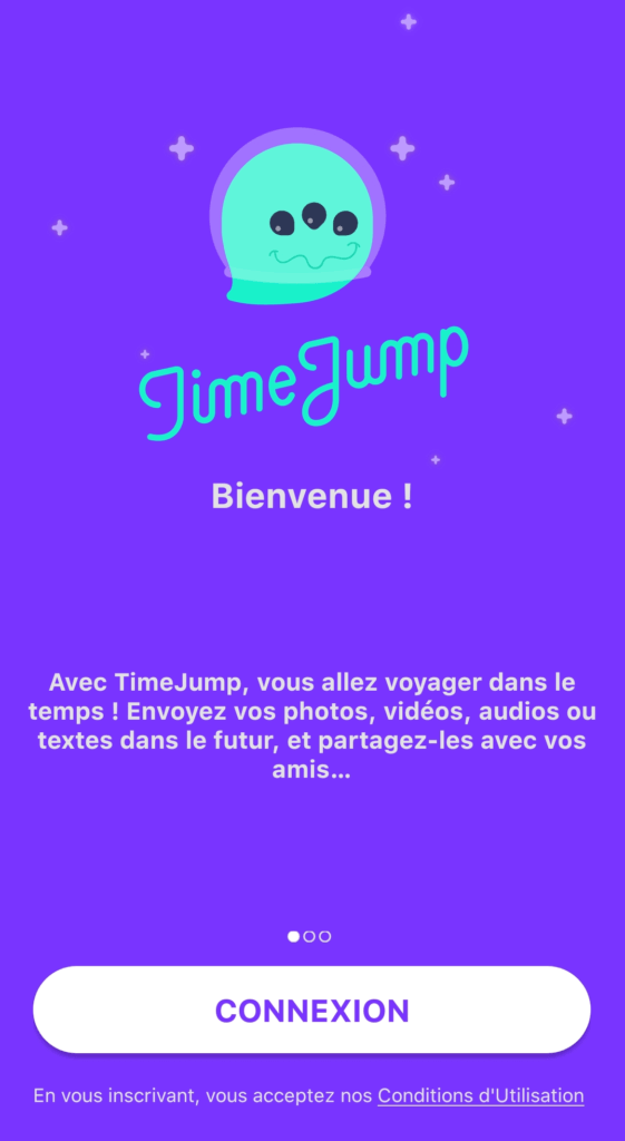 Página de login do aplicativo TimeJump