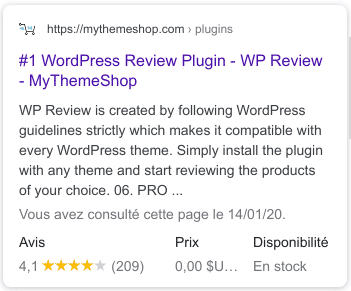 WP Review - Example of rating in Google results