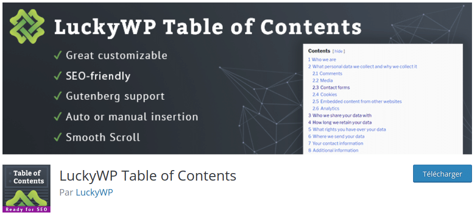 LuckyWP Table of Contents allows you to add a table of contents to your articles