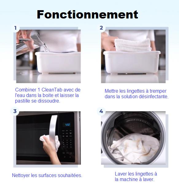 Passaggi per l'utilizzo di FinalWipe. 1- Combina 1 CleanTab con acqua nella confezione e lascia che il tablet si dissolva. 2- Mettere le salviette in ammollo nella soluzione disinfettante. 3- Pulire le superfici desiderate. 4- Lavare le salviette in lavatrice.