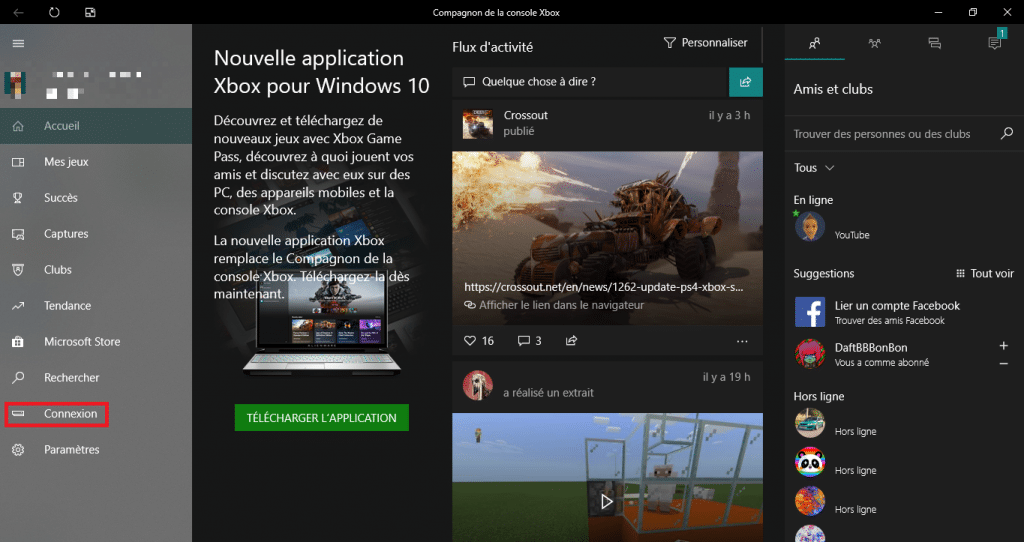 Home page of the Companion application of the Xbox console, The Connection button is framed in red